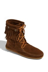 Minnetonka 'Tramper' Double Fringe Moccasin Boot Women Brown
