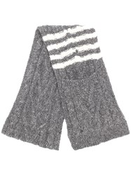 Thom Browne 4 Bar Aran Cable Scarf Grey