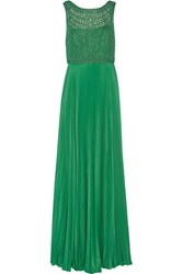 Mikael Aghal Beaded Tulle And Pliss And Eacute Crepe Gown Green