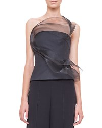 Akris Tulle Wave Asymmetric Bustier Top Black