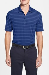 Cutter And Buck Men's Big Tall 'Franklin' Stripe Drytec Polo Tour Blue White