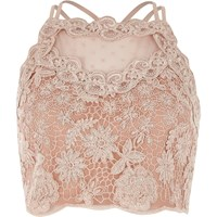 River Island Womens Light Pink Lace Mesh Crop Top