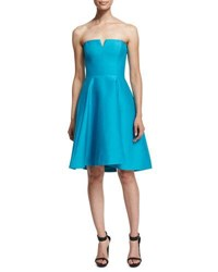 Halston Strapless Fit And Flare Dress Caribbean