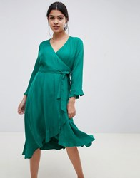 Suncoo Frill Wrap Dress Green