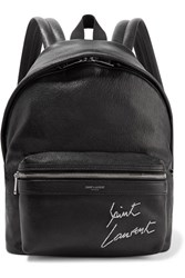 Saint Laurent Mini Toy City Embroidered Textured Leather Backpack Black