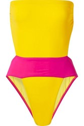 Karla Colletto Helene Cutout Color Block Swimsuit Yellow