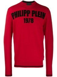 Philipp Plein Logo Print Sweater Red