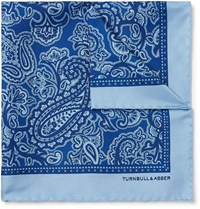 Turnbull And Asser Paisley Print Silk Twill Pocket Square Blue