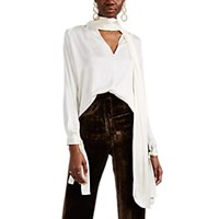 Juan Carlos Obando Washed Satin Tieneck Blouse White