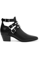 Saint Laurent Cutout Glossed Leather Ankle Boots Black