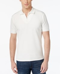 Vince Camuto Men's Waffle Knit Quarter Zip Polo White
