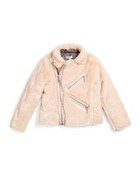 Kenzo Faux Fur Zip Front Jacket Light Pink Size 6 12