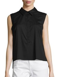 Milly Solid Collared Pleat Shirt Black