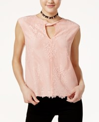 Lily Black Juniors' Lace Keyhole Top Pale Blush