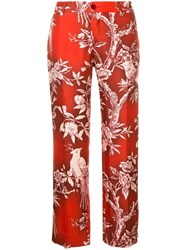 F.R.S For Restless Sleepers Floral Print Cropped Trousers Red