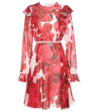 Giambattista Valli Printed Silk Dress Red