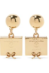 Moschino Gold Plated Earrings One Size