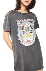 Topshop Women's By And Finally Iron Maiden T Shirt Dress Washed Black