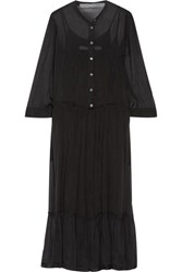 Raquel Allegra Silk Chiffon Midi Dress Black