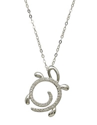 Lord And Taylor 14Kt. White Gold And Diamond Turtle Pendant Necklace