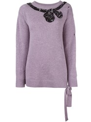 Marc Jacobs Sequin Bow Jumper Pink Purple