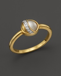 Kara Ross 18K Yellow Gold Small Hydra Ring With Rock Crystal Mother Of Pearl And Diamonds Gold Multi