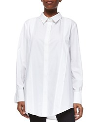 Donna Karan Tailored Cotton Poplin Tunic White