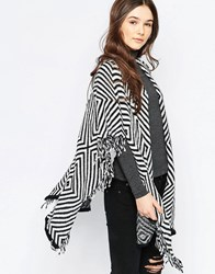 Wal G Cardigan With Fringe Detail Blackwhite
