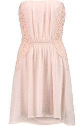Maje Relation Crochet Paneled Satin Crepe Mini Dress Pink
