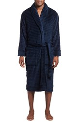 Men's Daniel Buchler Tunnel Pattern Fleece Robe Midnight