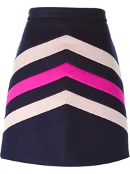 Msgm Chevron Detail Skirt Blue