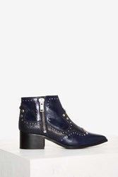 Nasty Gal Revolt Leather Ankle Boot Blue