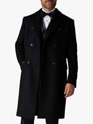 Jaeger Italian Wool Cashmere Double Breasted Overcoat Black