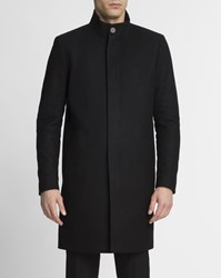Theory Black Button Up Stand Up Collar Wool And Cashmere Belvin Coat