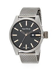 English Laundry Stainless Steel Mesh Bracelet Watch Gunmetal Black
