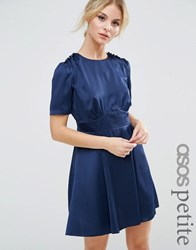 Asos Petite Short Sleeve Satin Tea Dress With Rouleau Buttons Navy