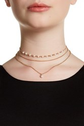 14Th And Union 3 Layer Rosary Glass Pearl Choker Metallic
