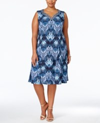 Jm Collection Woman Jm Collection Plus Size Embellished Printed Fit And Flare Dress Only At Macy's Blue Chevron Iconic