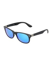 Ray Ban Men's Wayfarer Plastic Sunglasses With Mirror Lenses Black Blue
