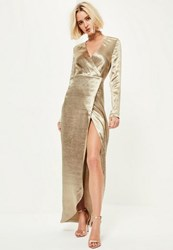 Missguided Gold Metallic Long Sleeve Plunge Wrap Maxi Dress