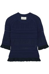 3.1 Phillip Lim Ruffled Pointelle Knit Sweater Midnight Blue