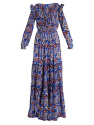 Dodo Bar Or Elvis Paisley Print Ruffled Maxi Dress Blue Print