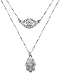 Giani Bernini Cubic Zirconia Evil Eye And Hamsa Double Layer Pendant Necklace In Sterling Silver Only At Macy's