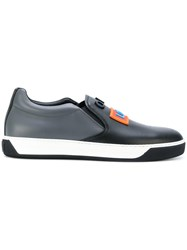 Fendi Slip On Sneakers With Raised Appliques Calf Leather Leather Rubber Black
