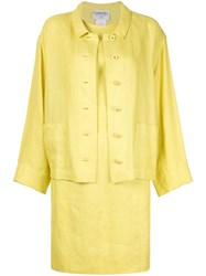Chanel Vintage Two Piece Dress Suit Yellow