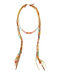 Nakamol Long Beaded Leather Necklace Peach