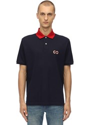 Gucci Embroidered Stretch Cotton Pique Polo Navy