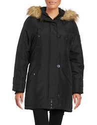 Vero Moda Faux Fur Trimmed Hooded Mid Length Parka Black