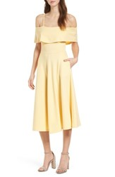 Leith Cold Shoulder Midi Dress Yellow Cloud