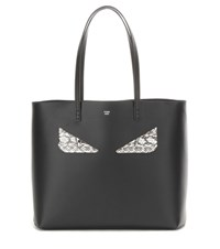 Fendi Medium Roll Monster Face Embellished Leather Shopper Black